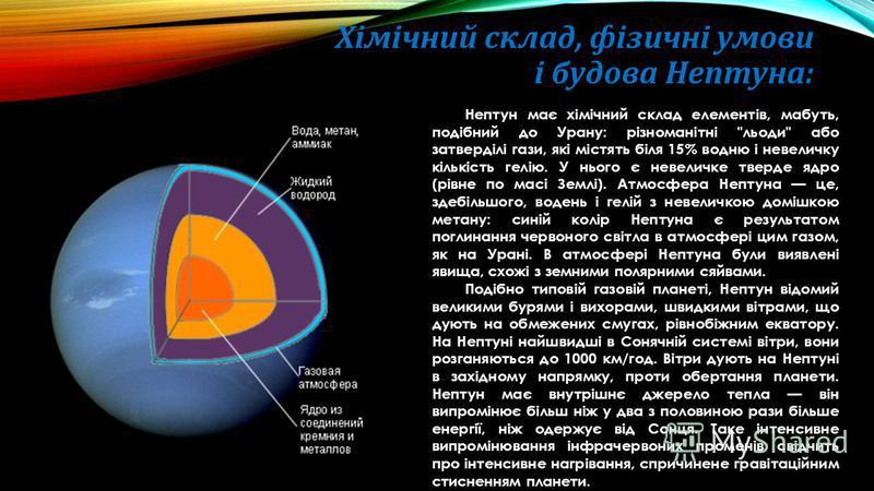 Хімічний склад, фізичні умови і будова Нептуна: Нептун має хімічний склад елементів, мабуть, подібний до Урану: різноманітні