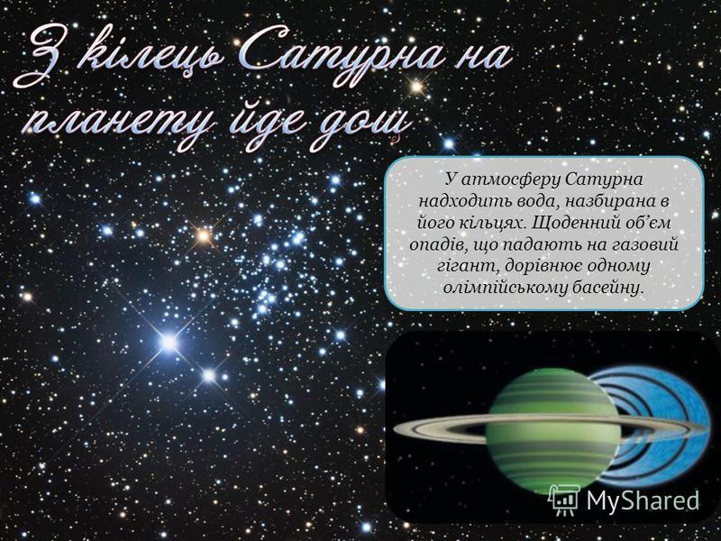 У атмосферу Сатурна надходить вода, назбирана в його кільцях. Щоденний обєм опадів, що падають на газовий гігант, дорівнює одному олімпійському басейну.
