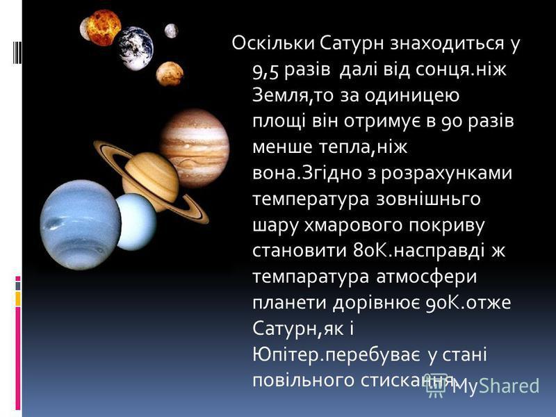 Оскільки Сатурн знаходиться у 9,5 разів далі від сонця.ніж Земля,то за одиницею площі він отримує в 90 разів менше тепла,ніж вона.Згідно з розрахунками температура зовнішньго шару хмарового покриву становити 80К.насправді ж темпаратура атмосфери план