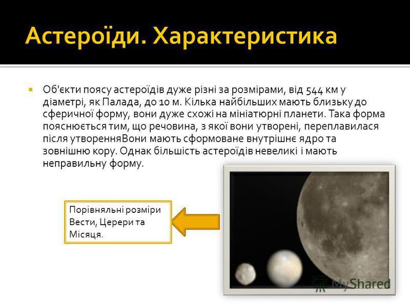 Об'єкти поясу астероїдів дуже різні за розмірами, від 544 км у діаметрі, як Палада, до 10 м. Кілька найбільших мають близьку до сферичної форму, вони дуже схожі на мініатюрні планети. Така форма пояснюється тим, що речовина, з якої вони утворені, пер
