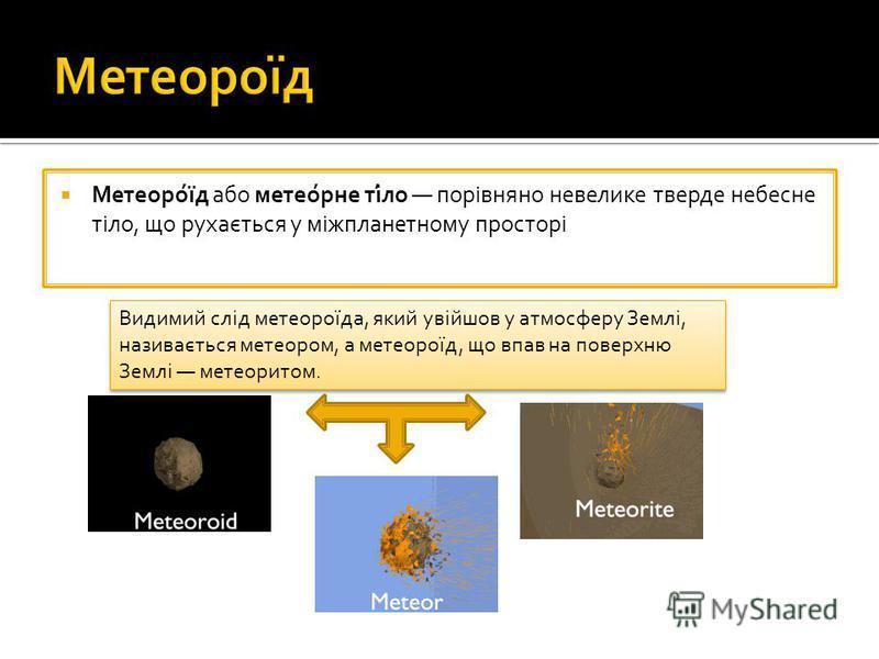 Метеоро́їд або метео́рне ті́ло порівняно невелике тверде небесне тіло, що рухається у міжпланетному просторі Видимий слід метеороїда, який увійшов у атмосферу Землі, називається метеором, а метеороїд, що впав на поверхню Землі метеоритом.