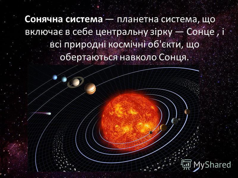 Сонячна система планетна система, що включає в себе центральну зірку Сонце, і всі природні космічні об'єкти, що обертаються навколо Сонця.