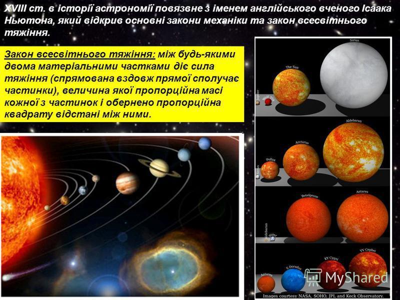 XVIІІ ст. в історії астрономії повязвне з іменем англійського вченого Ісаака Ньютона, який відкрив основні закони механіки та закон всесвітнього тяжіння. Закон всесвітнього тяжіння: між будь-якими двома матеріальними частками діє сила тяжіння (спрямо