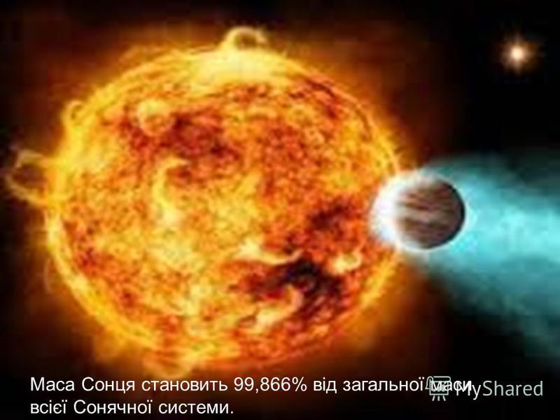 Маса Сонця становить 99,866% від загальної маси всієї Сонячної системи.