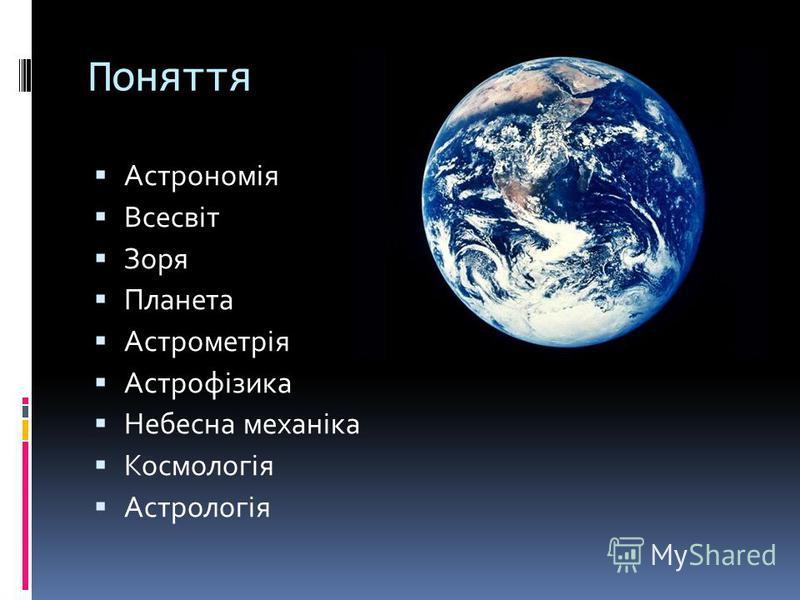 Поняття Астрономія Всесвіт Зоря Планета Астрометрія Астрофізика Небесна механіка Космологія Астрологія