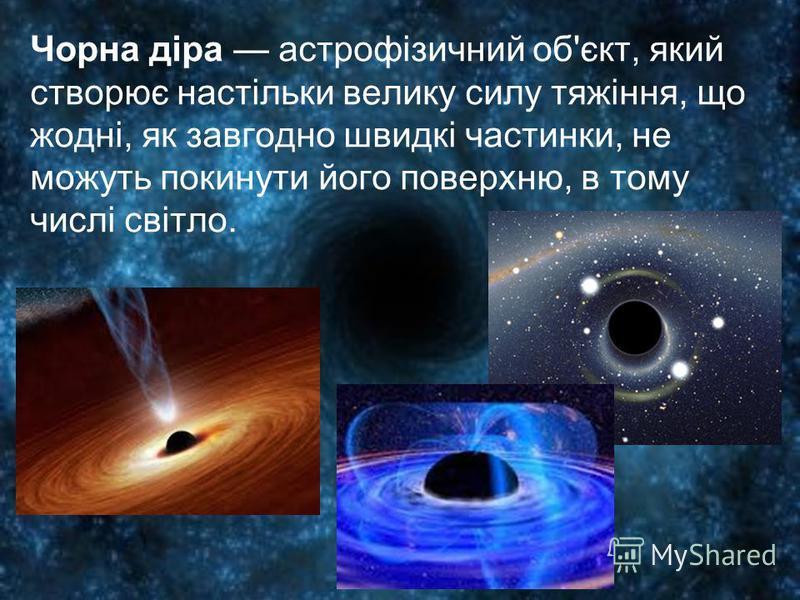 Чорна діра астрофізичний об'єкт, який створює настільки велику силу тяжіння, що жодні, як завгодно швидкі частинки, не можуть покинути його поверхню, в тому числі світло.