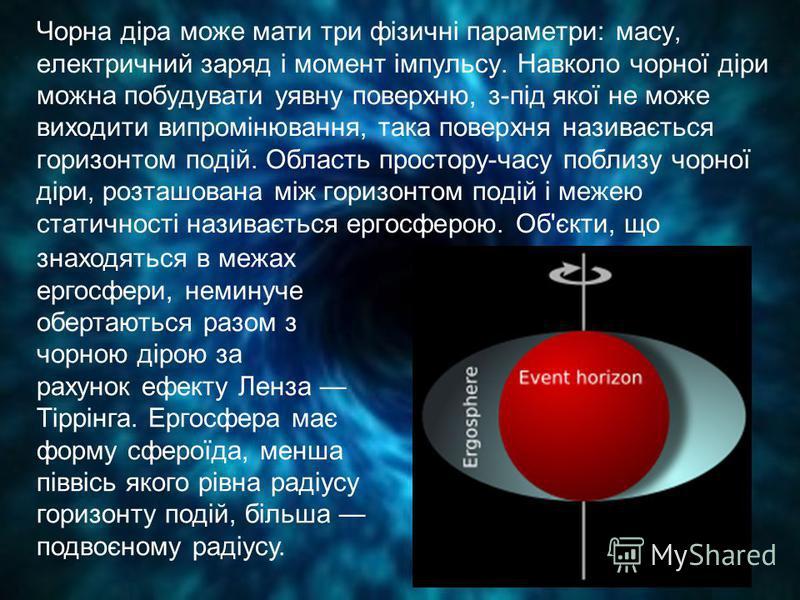 Чорна діра може мати три фізичні параметри: масу, електричний заряд і момент імпульсу. Навколо чорної діри можна побудувати уявну поверхню, з-під якої не може виходити випромінювання, така поверхня називається горизонтом подій. Область простору-часу
