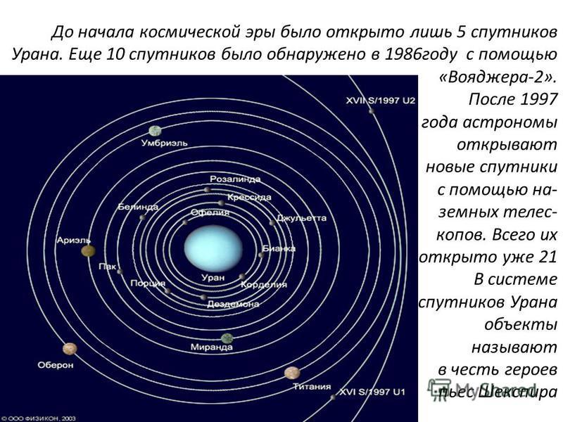 До начала космической эры было открыто лишь 5 спутников Урана. Еще 10 спутников было обнаружено в 1986 году с помощью «Вояджера-2». После 1997 года астрономы открывают новые спутники с помощью на- земных телес- копов. Всего их открыто уже 21 В систем