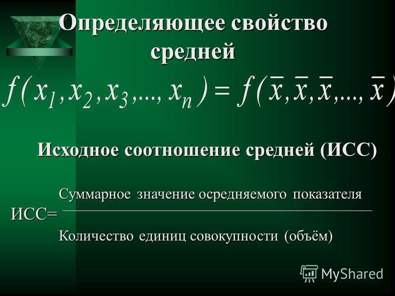 Определяющее свойство средней Исходное соотношение средней (ИСС) Исходное соотношение средней (ИСС) Суммарное значение осредняемого показателя Суммарное значение осредняемого показателяИСС= Количество единиц совокупности (объём) Количество единиц сов