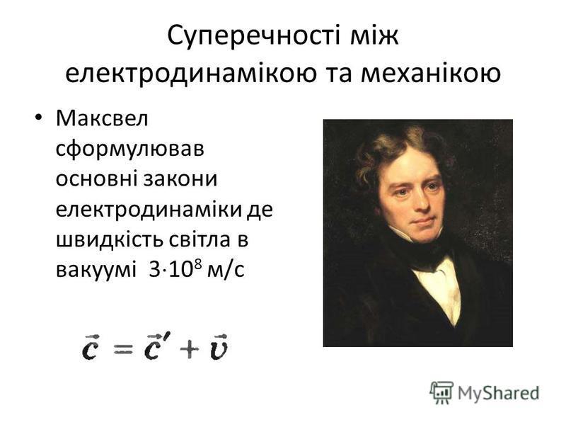 Суперечності між електродинамікою та механікою Максвел сформулював основні закони електродинаміки де швидкість світла в вакуумі 3 10 8 м/с