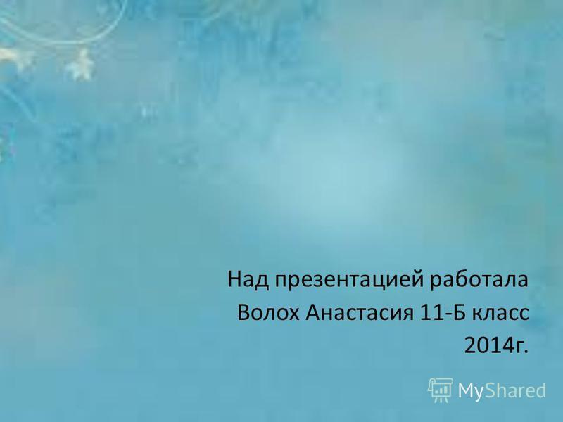 Над презентацией работала Волох Анастасия 11-Б класс 2014 г.
