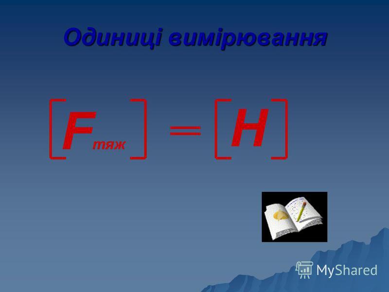 Одиниці вимірювання F тяж Н