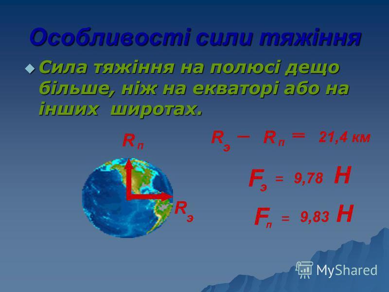 Особливості сили тяжіння Сила тяжіння на полюсі дещо більше, ніж на екваторі або на інших широтах. Сила тяжіння на полюсі дещо більше, ніж на екваторі або на інших широтах. R п R э R R п R э 21,4 км F F э п = = 9,78 9,83 Н Н