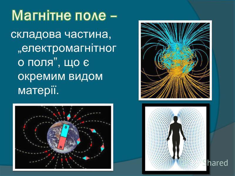 складова частина, електромагнітног о поля, що є окремим видом матерії.