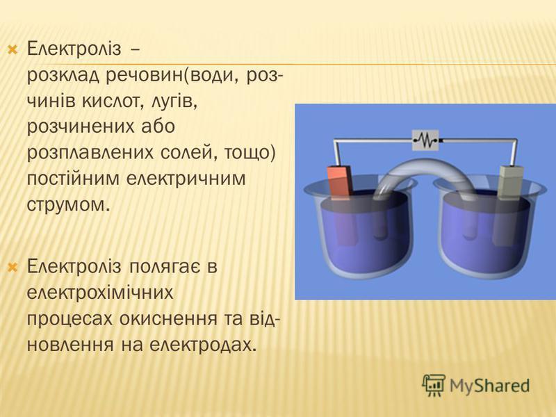 Електроліз – розклад речовин(води, роз- чинів кислот, лугів, розчинених або розплавлених солей, тощо) постійним електричним струмом. Електроліз полягає в електрохімічних процесах окиснення та від- новлення на електродах.