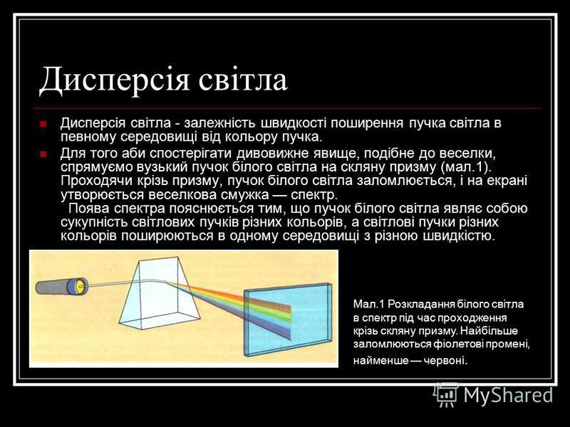 Дисперсія світла Дисперсія світла - залежність швидкості поширення пучка світла в певному середовищі від кольору пучка. Для того аби спостерігати дивовижне явище, подібне до веселки, спрямуємо вузький пучок білого світла на скляну призму (мал.1). Про