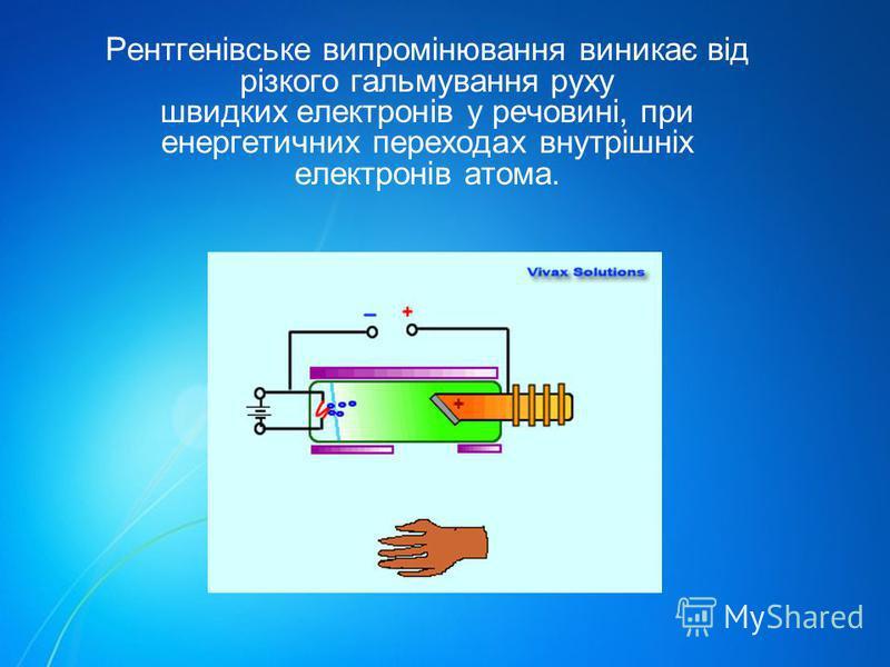 Рентгенівське випромінювання виникає від різкого гальмування руху швидких електронів у речовині, при енергетичних переходах внутрішніх електронів атома.