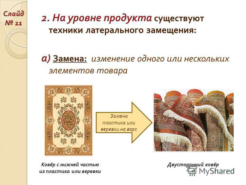 2. На уровне продукта существуют техники латерального замещения : а ) Замена : изменение одного или нескольких элементов товара Ковёр с нижней частью из пластика или веревки Двусторонний ковёр Замена пластика или веревки на ворс Слайд 11