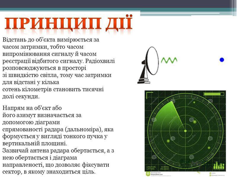 Відстань до об'єкта вимірюється за часом затримки, тобто часом випромінювання сигналу й часом реєстрації відбитого сигналу. Радіохвилі розповсюджуються в просторі зі швидкістю світла, тому час затримки для відстані у кілька сотень кілометрів становит