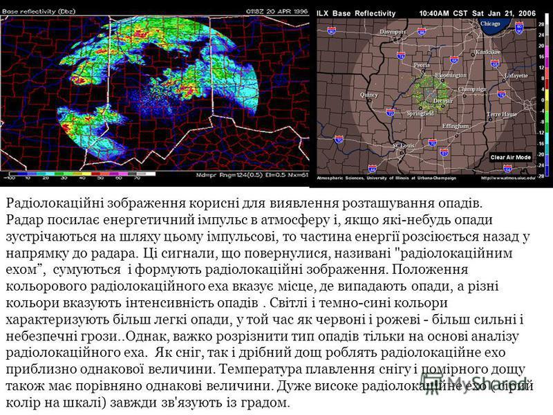 Радіолокаційні зображення корисні для виявлення розташування опадів. Радар посилає енергетичний імпульс в атмосферу і, якщо які-небудь опади зустрічаються на шляху цьому імпульсові, то частина енергії розсіюється назад у напрямку до радара. Ці сигнал