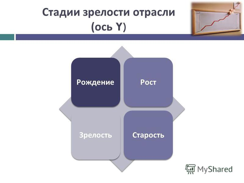 Стадии зрелости отрасли ( ось Y) Рождение РостЗрелость Старость