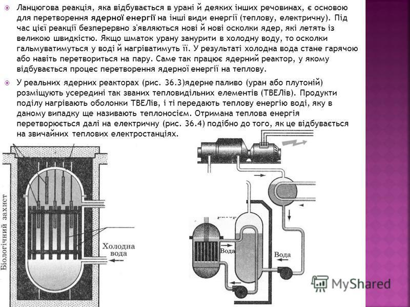 Ланцюгова реакція, яка відбувається в урані й деяких інших речовинах, є основою для перетворення ядерної енергії на інші види енергії (теплову, електричну). Під час цієї реакції безперервно з'являються нові й нові осколки ядер, які летять із великою