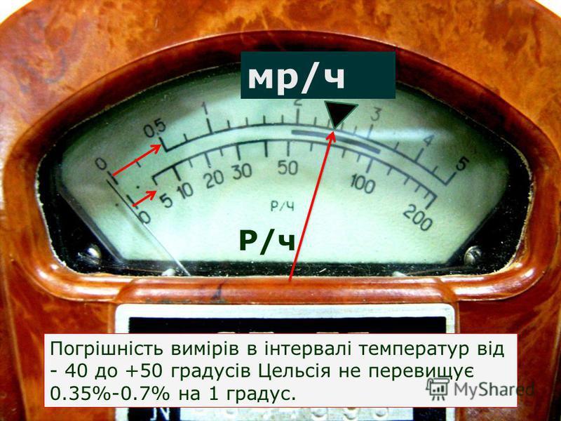 мр/ч Р/ч Погрішність вимірів в інтервалі температур від - 40 до +50 градусів Цельсія не перевищує 0.35%-0.7% на 1 градус.