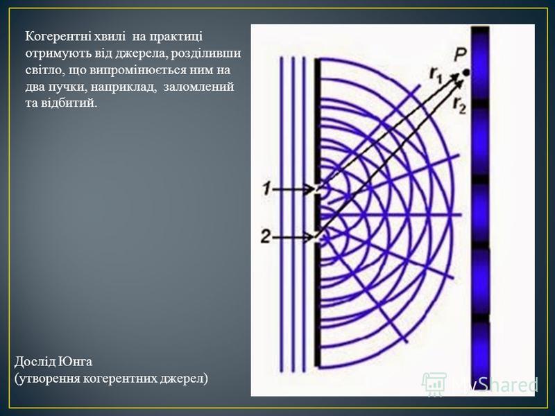 Когерентні хвилі на практиці отримують від джерела, розділивши світло, що випромінюється ним на два пучки, наприклад, заломлений та відбитий. Дослід Юнга (утворення когерентних джерел)