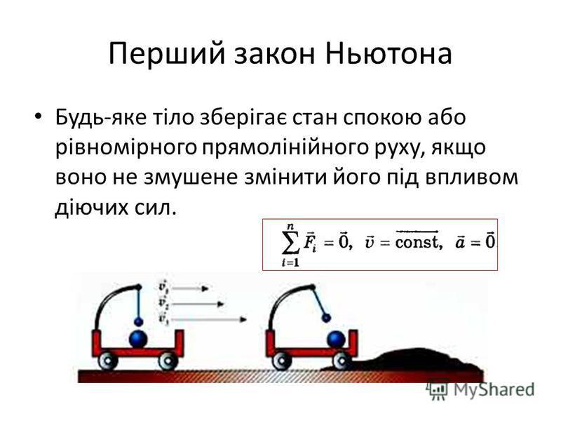 Перший закон Ньютона Будь-яке тіло зберігає стан спокою або рівномірного прямолінійного руху, якщо воно не змушене змінити його під впливом діючих сил.