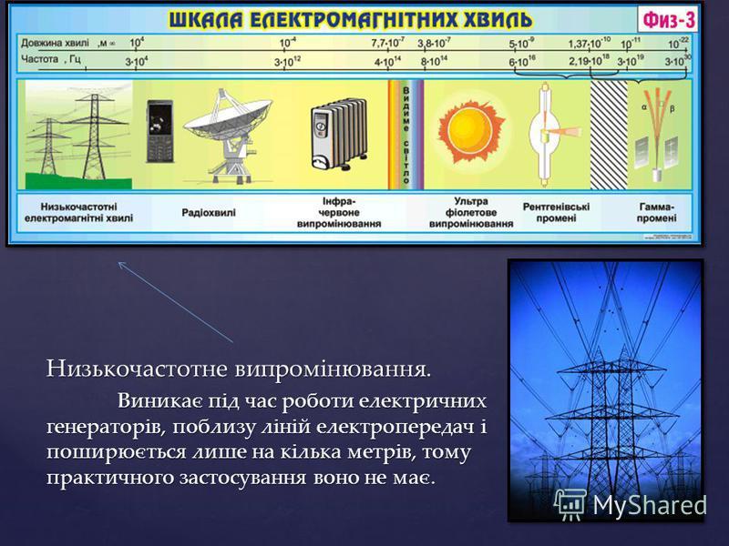 Низькочастотне випромінювання. Виникає під час роботи електричних генераторів, поблизу ліній електропередач і поширюється лише на кілька метрів, тому практичного застосування воно не має.
