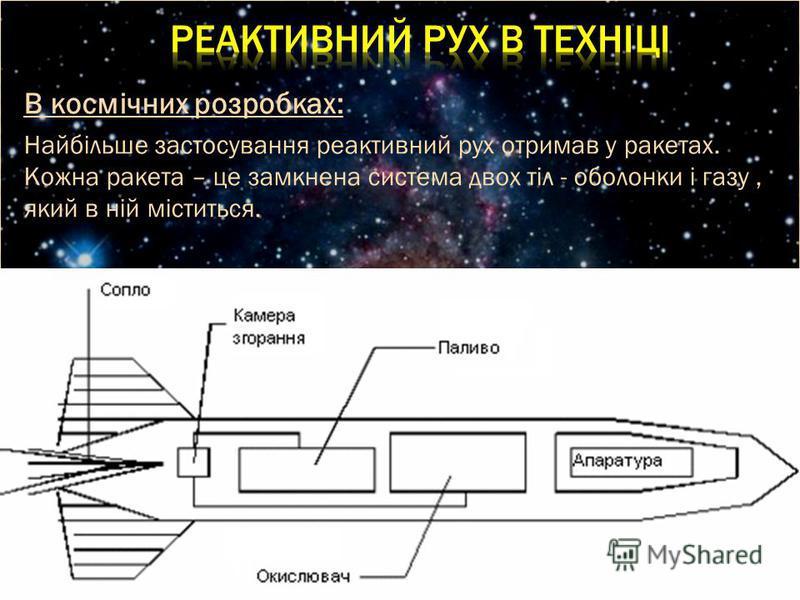 В космічних розробках: Найбільше застосування реактивний рух отримав у ракетах. Кожна ракета – це замкнена система двох тіл - оболонки і газу, який в ній міститься.