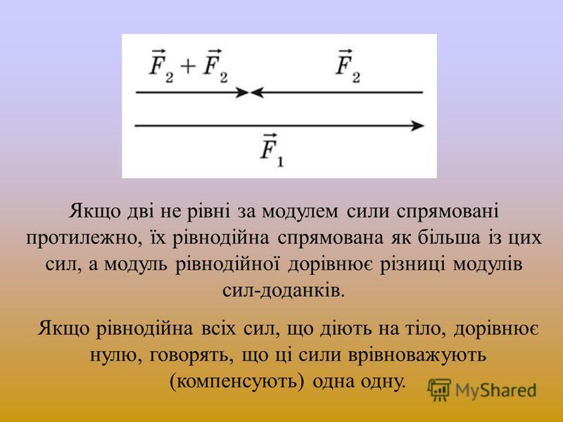 Якщо дві не рівні за модулем сили спрямовані протилежно, їх рівнодійна спрямована як більша із цих сил, а модуль рівнодійної дорівнює різниці модулів сил-доданків. Якщо рівнодійна всіх сил, що діють на тіло, дорівнює нулю, говорять, що ці сили врівно