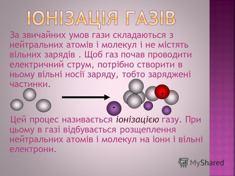 За звичайних умов гази складаються з нейтральних атомів і молекул і не містять вільних зарядів. Щоб газ почав проводити електричний струм, потрібно створити в ньому вільні носії заряду, тобто заряджені частинки. Цей процес називається іонізацією газу