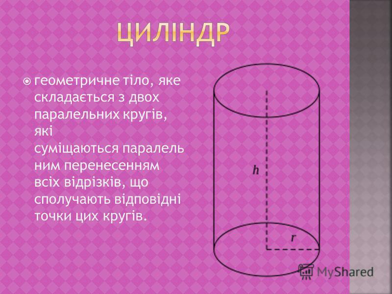 геометричне тіло, яке складається з двох паралельних кругів, які суміщаються паралель ним перенесенням всіх відрізків, що сполучають відповідні точки цих кругів.