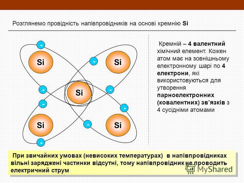 Розглянемо провідність напівпровідників на основі кремнію Si Si - - - -- - - - Кремній – 4 валентний хімічний елемент. Кожен атом має на зовнішньому електронному шарі по 4 електрони, які використовуються для утворення парноелектронних (ковалентних) з