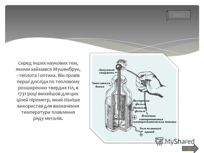 11 Серед інших наукових тем, якими займався Мушенбрук, - теплота і оптика. Він провів перші досліди по тепловому розширенню твердих тіл, в 1731 році винайшов для цих цілей пірометр, який пізніше використав для визначення температури плавлення ряду ме