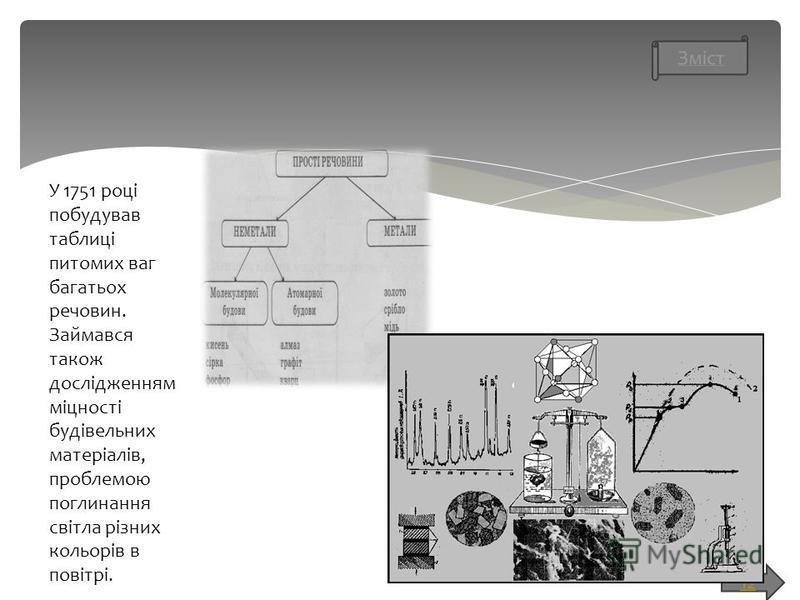 12 У 1751 році побудував таблиці питомих ваг багатьох речовин. Займався також дослідженням міцності будівельних матеріалів, проблемою поглинання світла різних кольорів в повітрі.