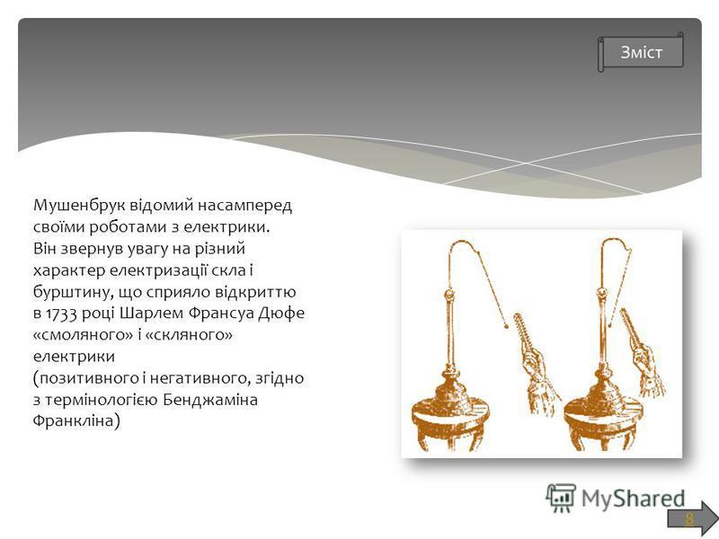 Мушенбрук відомий насамперед своїми роботами з електрики. Він звернув увагу на різний характер електризації скла і бурштину, що сприяло відкриттю в 1733 році Шарлем Франсуа Дюфе «смоляного» і «скляного» електрики (позитивного і негативного, згідно з