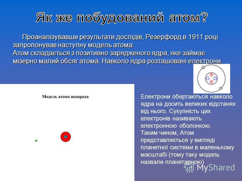Проаналізувавши результати дослідів, Резерфорд в 1911 році запропонував наступну модель атома: Атом складається з позитивно зарядженого ядра, яке займає мізерно малий обсяг атома. Навколо ядра розташовані електрони. Електрони обертаються навколо ядра