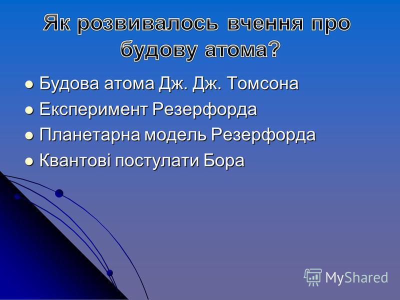 Будова атома Дж. Дж. Томсона Будова атома Дж. Дж. Томсона Експеримент Резерфорда Експеримент Резерфорда Планетарна модель Резерфорда Планетарна модель Резерфорда Квантові постулати Бора Квантові постулати Бора