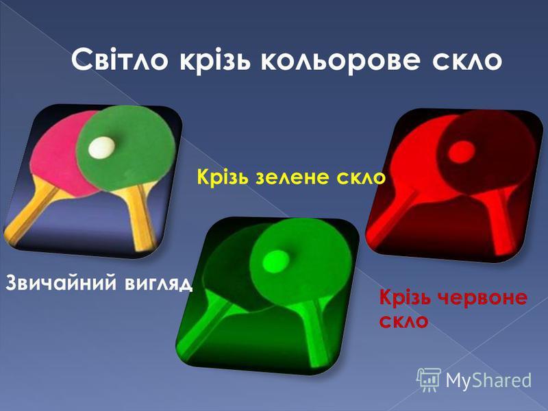 Світло крізь кольорове скло Крізь зелене скло Крізь червоне скло Звичайний вигляд