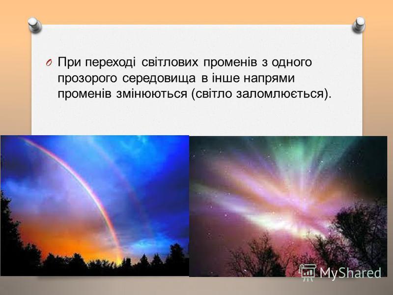 O При переході світлових променів з одного прозорого середовища в інше напрями променів змінюються ( світло заломлюється ).