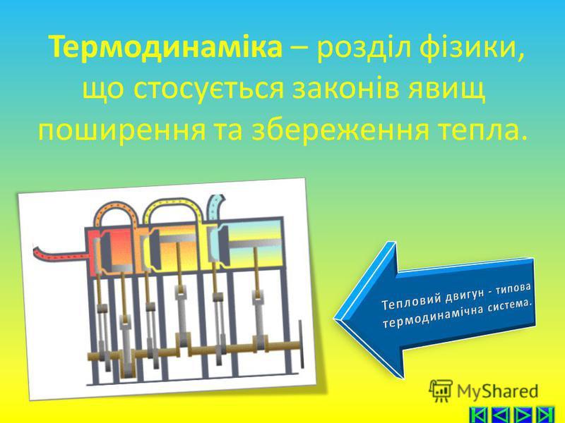 Термодинаміка – розділ фізики, що стосується законів явищ поширення та збереження тепла.