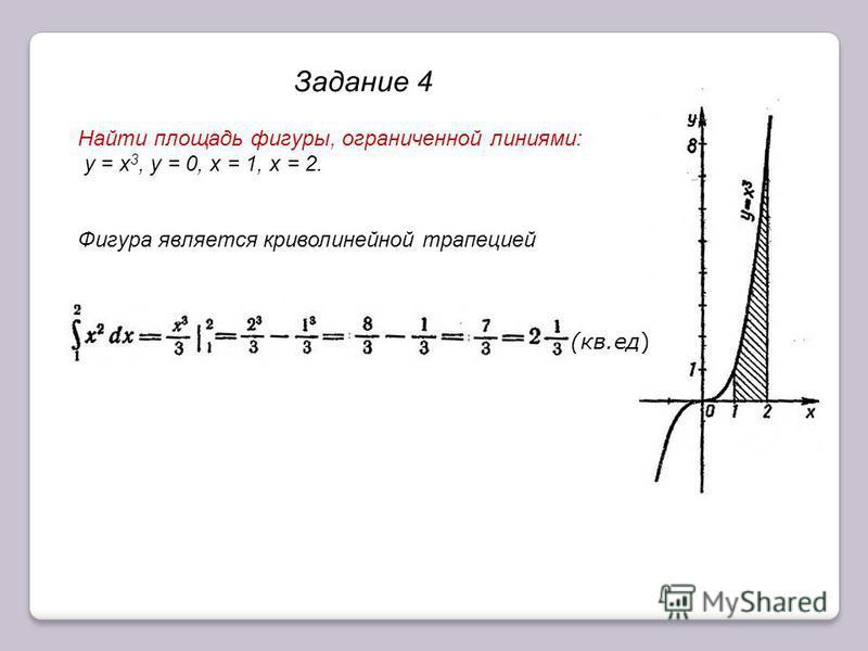 Задание 4 Найти площадь фигуры, ограниченной линиями: у = х 3, у = 0, х = 1, х = 2. Фигура является криволинейной трапецией (кв.ед)