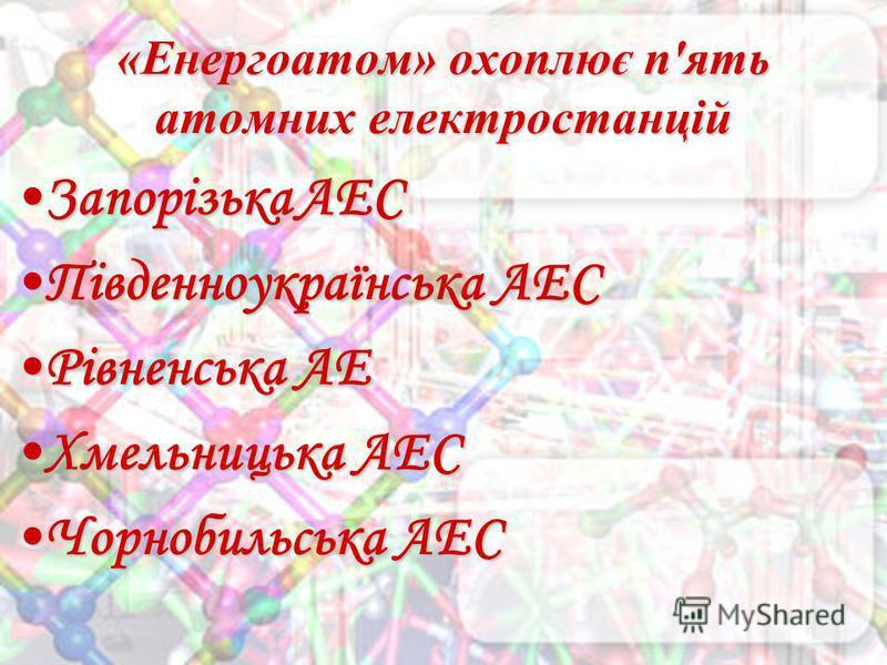 «Енергоатом» охоплює п'ять атомних електростанцій Запорізька АЕСЗапорізька АЕС Південноукраїнська АЕСПівденноукраїнська АЕС Рівненська АЕРівненська АЕ Хмельницька АЕСХмельницька АЕС Чорнобильська АЕСЧорнобильська АЕС
