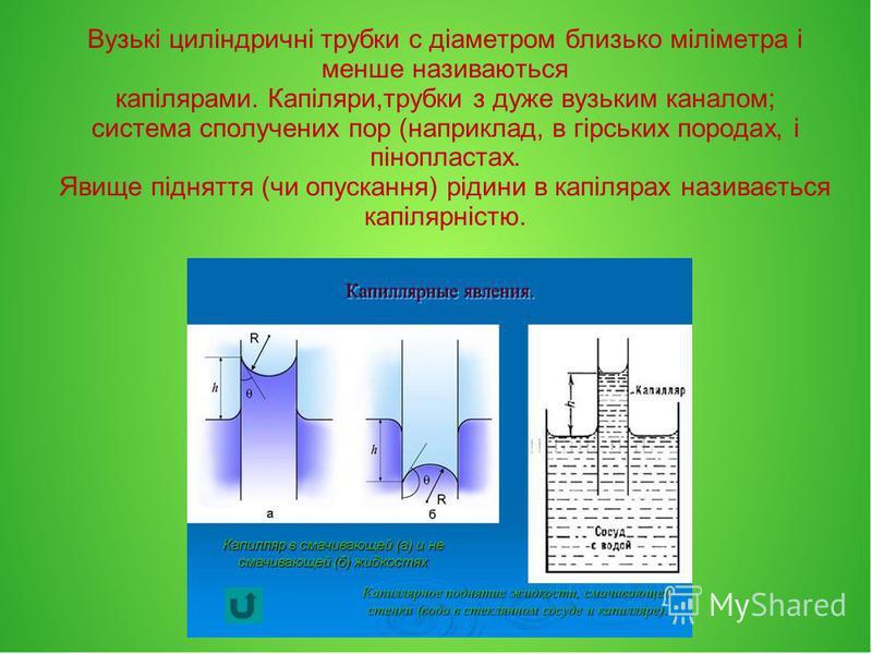 Вузькі циліндричні трубки с діаметром близько міліметра і менше називаються капілярами. Капіляри,трубки з дуже вузьким каналом; система сполучених пор (наприклад, в гірських породах, і пінопластах. Явище підняття (чи опускання) рідини в капілярах наз