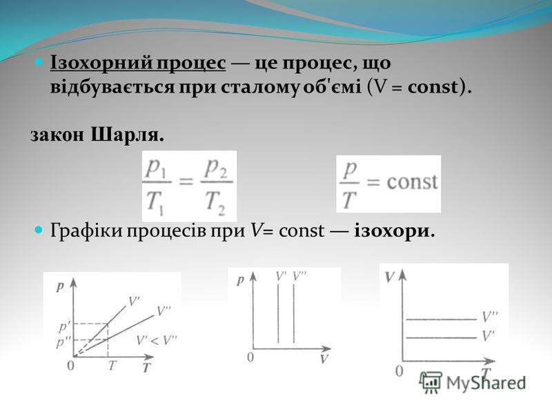 Ізохорний процес це процес, що відбувається при сталому об'ємі (V = const). Графіки процесів при V= const ізохори. закон Шарля.