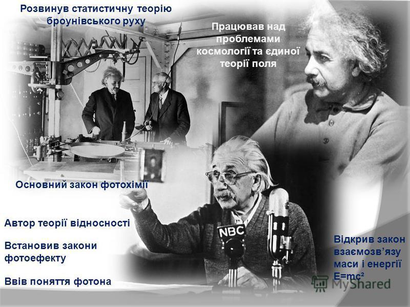 Розвинув статистичну теорію броунівського руху Працював над проблемами космології та єдиної теорії поля Встановив закони фотоефекту Ввів поняття фотона Автор теорії відносності Відкрив закон взаємозвязу маси і енергії E=mc² Основний закон фотохімії