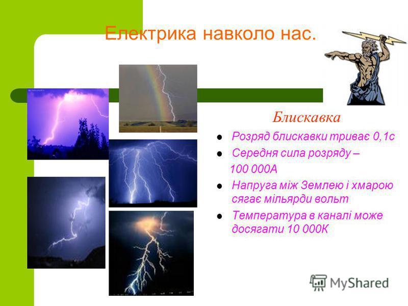 Електрика навколо нас. Блискавка Розряд блискавки триває 0,1с Середня сила розряду – 100 000А Напруга між Землею і хмарою сягає мільярди вольт Температура в каналі може досягати 10 000К