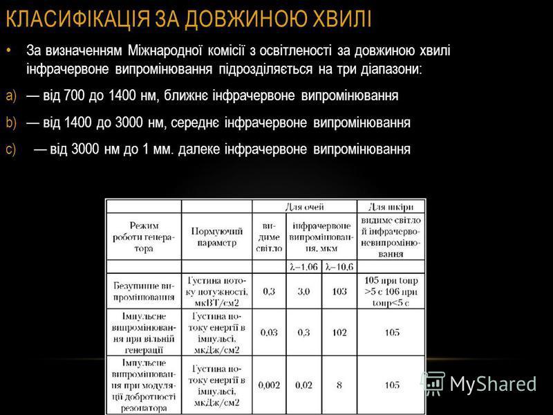 КЛАСИФІКАЦІЯ ЗА ДОВЖИНОЮ ХВИЛІ За визначенням Міжнародної комісії з освітленості за довжиною хвилі інфрачервоне випромінювання підрозділяється на три діапазони: a) від 700 до 1400 нм, ближнє інфрачервоне випромінювання b) від 1400 до 3000 нм, середнє